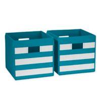 RiverRidge Kids Folding Storage Bins in Turquoise Stripe (Set of 2)