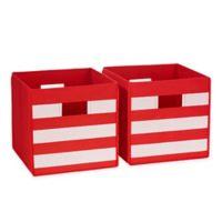 RiverRidge Kids Folding Storage Bins in Red Stripe (Set of 2)