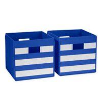 RiverRidge Kids Folding Storage Bins in Blue Stripe (Set of 2)