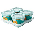 OXO Tot® 4 oz. Glass Baby Food Storage Blocks with Silicone Sleeves in Teal (Set of 4)