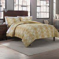 Garment Washed Cotton Medallion Printed Full/Queen Comforter Set in Gold