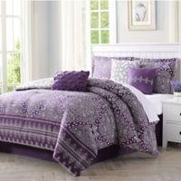 Harris 7-Piece Reversible King Comforter Set in Purple