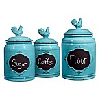 Home Essentials & Beyond Chalk Rooster Canister in Aqua (Set of 3)