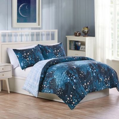 vcny home milky way reversible 2 piece twin comforter set in navy - Blue Bedding Sets