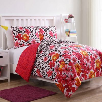 VCNY Home Nikki Floral Leopard 2 Piece Reversible Twin Comforter Set In  White/Red