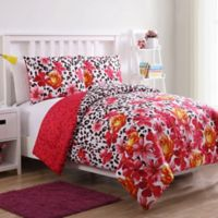 VCNY Home Nikki Floral Leopard 2-Piece Reversible Twin Comforter Set in White/Red