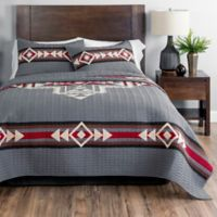 Pendleton® Crossroads Reversible Geometric King Quilt Set in Grey