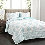 Lush Decor Teardrop Leaf Reversible King Quilt Set in Blue