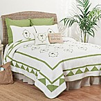 Martinique King Quilt in Green/White