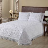 Singapore Chenille Queen Bedspread in White