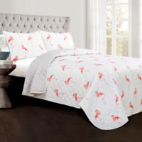 Lush Decor Kelly Flamingo Full/Queen Quilt Set in Coral