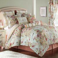 Rose Tree Lorraine Reversible Queen Comforter Set in Blue/Red