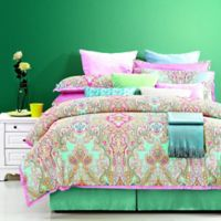 Harmony Queen Duvet Cover Set in Pink/Green