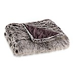 Faux Fur Throw Blanket in Grey