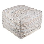 Style Co-op® Aiden Leather Hand-loomed Square Pouf in Natural