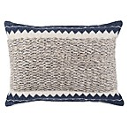Chevron Handwoven Oblong Throw Pillow in Natural/Blue
