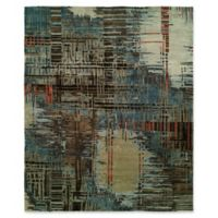 Natori Dynasty Abstract Plaid 9' x 12' Area Rug in Blue