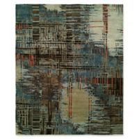 Natori Dynasty Abstract Plaid 10' x 14' Area Rug in Blue
