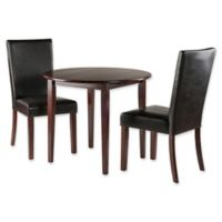 Winsome Trading 3-Piece Clayton Round Drop Leaf Dining Table and High Back Chairs in Walnut