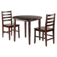 Winsome Trading 3-Piece Clayton Round Drop Leaf Dining Table and Ladderback Chairs in Walnut
