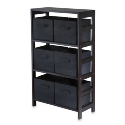 capri 3tier storage shelf with 6 foldable baskets in black