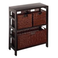 Leo 2-Tier Shelf with Wire Frame Baskets