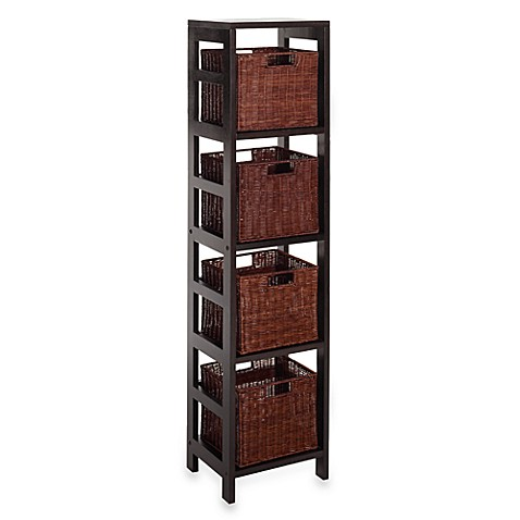 leo storage shelf with 4 wire frame baskets bed bath. Black Bedroom Furniture Sets. Home Design Ideas