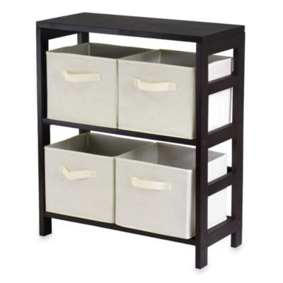 capri 2section storage shelf with 4 foldable fabric baskets in beige