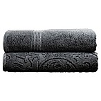 Pacific Coast Textiles Denim Wash Filigree Leaf Bath Towels in Charcoal (Set of 2)