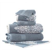 Pacific Coast Textiles 6-Piece Reversible Ikat Artesia Damask Bath Towel Set in Blue