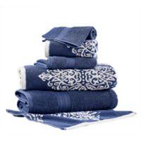 Pacific Coast Textiles 6-Piece Reversible Ikat Artesia Damask Bath Towel Set in Indigo