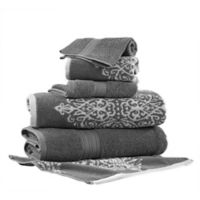Pacific Coast Textiles 6-Piece Reversible Ikat Artesia Damask Bath Towel Set in Platinum