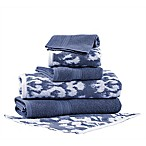 Pacific Coast Textiles 6-Piece Reversible Ikat Damask Bath Towel Set in Indigo