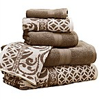 Pacific Coast Textiles 6-Piece Reversible Trefoil Filigree Bath Towel Set in Mocha