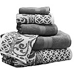 Pacific Coast Textiles 6-Piece Reversible Trefoil Filigree Bath Towel Set in Platinum