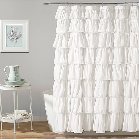 image of Lush Décor Emily Shower Curtain in White