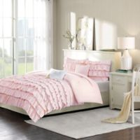 Intelligent Design Waterfall 4-Piece Twin/Twin XL Reversible Comforter Set in Blush
