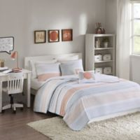 Intelligent Design Wilson Striped Reversible Twin/Twin XL Coverlet Set in Coral