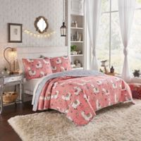 Vue® Llama Drama Reversible 4-Piece Full/Queen Quilt Set in Coral