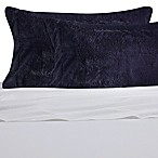 Faux Fur Standard Pillowcase in Dark Navy