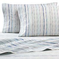 Hidden Retreat Lake & Lodge Stripe California King Sheet Set in Blue/Grey