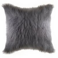 Flokati Faux Fur European Throw Pillow in Grey