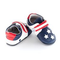Jack and Lily™ Size 0-6M Faux Leather USA Flag Casual Shoe in Blue