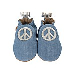 Robeez® Size 6-12M Soft Sole™ Peace Out Shoe in Blue