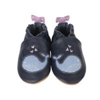Robeez® Size 0-6M Soft Sole Poppy Whale Shoe in Navy
