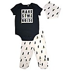 Mini Heroes Newborn 3-Piece Make Some Noise Bodysuit, Footed Pant, and Bandana Set in Black