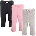 Luvable Friends® Size 9-12M 3-Pack Leggings in Light Pink/Black