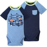 Gerber® Size 24M 2-Pack Shark Bodysuits in Blue
