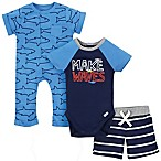 Gerber® Onesies® 3-Piece Size 3-6M Sharks Bodysuit, Short and Coverall Set in Blue