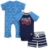 Gerber® Onesies® 3-Piece Size 18M Sharks Bodysuit, Short and Coverall Set in Blue